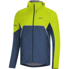 GORE WEAR R7 Partial Gore-Tex Infinium Hooded Jacket Herren deep water blue/citrus green